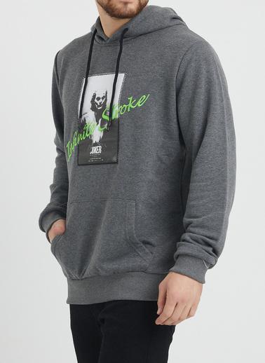 XHAN Haki Nakış Detaylı Sweatshirt 1Kxe8-44366-09 Gri